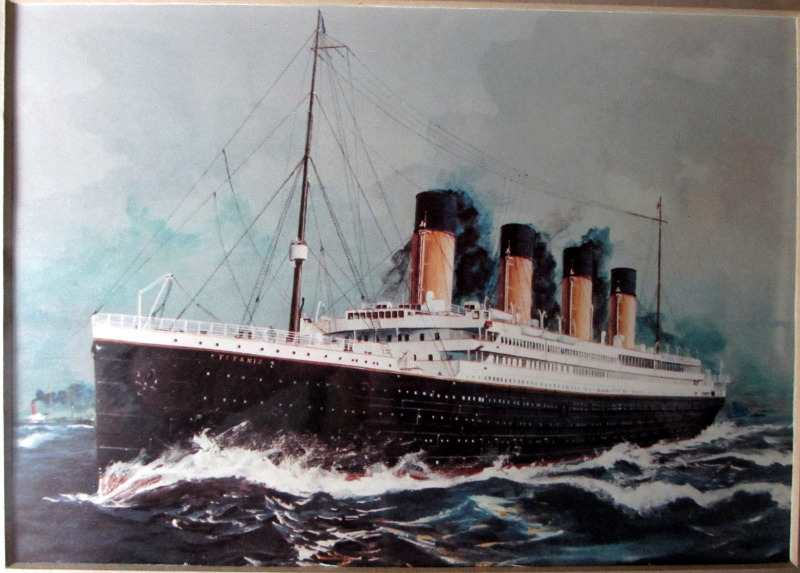 RMS Titanic, full steam ahead, open-edition print, framed and glazed. Detail.