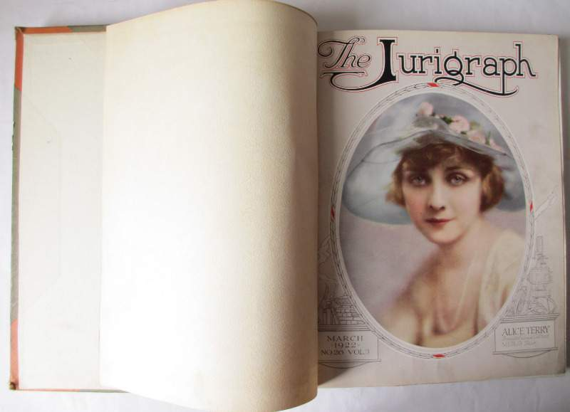 The Jurigraph, March 1922 No 26 Vol 3 to July 1923 No 36 Vol 3. Bound volume. First volume with Alice Terry.