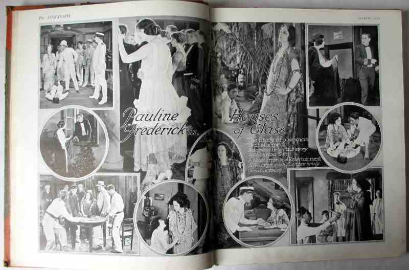 "The Jurigraph, March 1922 No 26 Vol 3 to July 1923 No 36 Vol 3. Bound volume. Sample pages with black and white stills from ""Houses of Glass""."