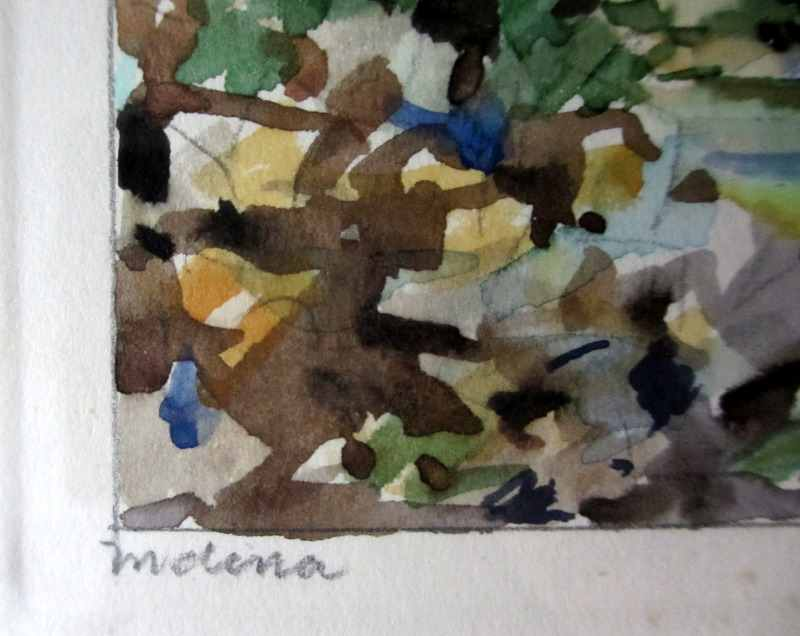 Mdina, watercolour on card, signed Jos. Galea Malta 1971. Title Mdina.