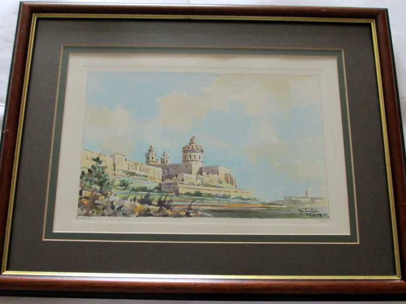 Mdina, watercolour on card, signed Jos. Galea Malta 1971. The framed painting.
