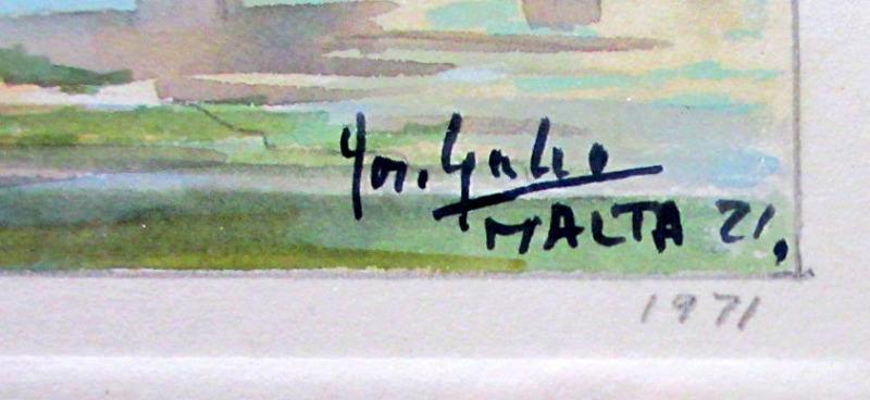 Mdina, watercolour on card, signed Jos. Galea Malta 1971. Signature and date.