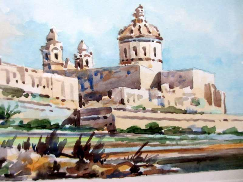Mdina, watercolour on card, signed Jos. Galea Malta 1971. Detail.
