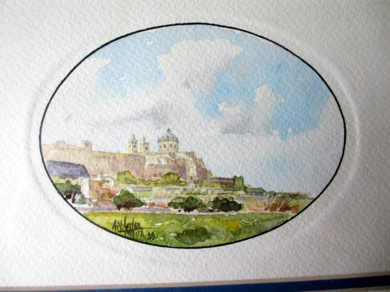 Mdina, watercolour on paper, signed AM. Galea, 1989.