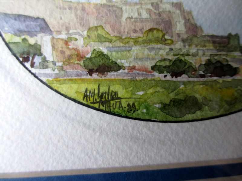Mdina, watercolour on paper, signed AM. Galea, 1989. Signature.
