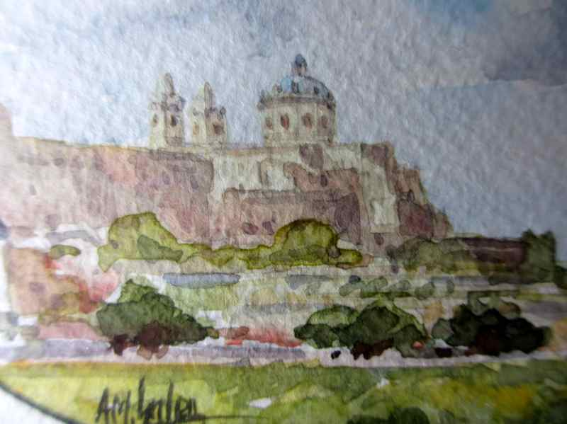 Mdina, watercolour on paper, signed AM. Galea, 1989. Detail.