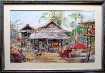 Chiang Mai, Thailand, Umbrella Makers' Village, watercolour on paper,  signed  Anne Dorrien Smith, c1950.  SOLD.