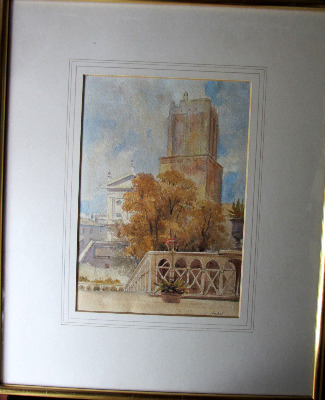 Nero's Tower, Rome, watercolour on paper, signed Leitch (W.L. Leitch) c1854