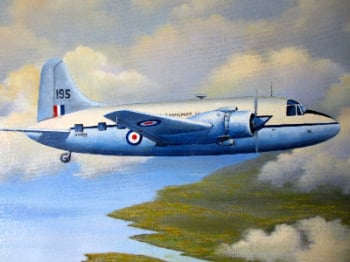 Vickers Valetta, military twin engine transport, oil on canvas, signed John Pettitt, 2004.  SOLD  04.01.2015.
