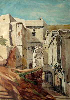 Rue de la Gazelle, Alger, signed Jar. 18. Watercolour on paper. 1918.