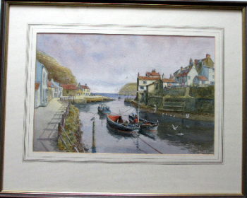Staithes Harbour, watercolour on paper, signed Sam Burden. c1985.