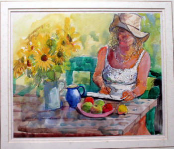 Valerie painting sunflowers, watercolour and pastel on paper, signed Stubley. c1990.   SOLD  07.05.2014.