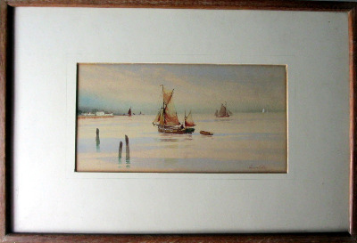 Fishing Boats off the English Coast, watercolour on paper, signed Avondale,