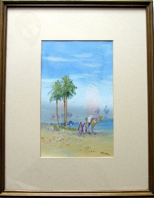 Arabian landscape with figures, watercolour and gouache on paper, signed F.