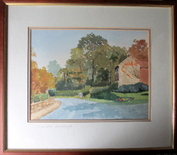 Bank Hill, Woodborough, Nottinghamshire, watercolour on paper, signed Ken Wells. c1985.  SOLD.