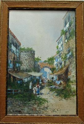 Old Street Scene in Naples, signed Y. Gianni, Neapolitan School, c1900.
