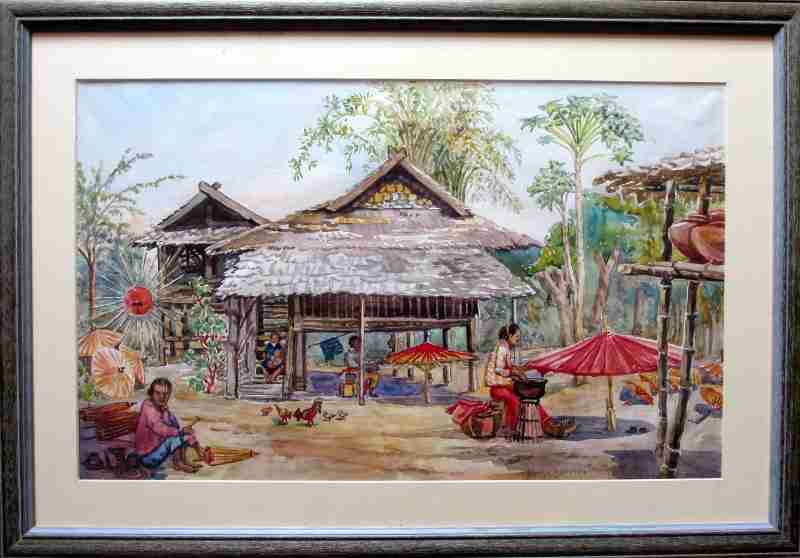 Chiang Mai, Northern Thailand, Umbrella Makers' Village, watercolour on paper, signed Anne Dorrien Smith. c1950.