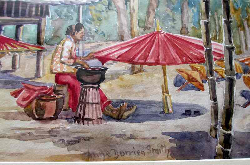 Chiang Mai, Northern Thailand, Umbrella Makers' Village, watercolour on paper, signed Anne Dorrien Smith. c1950. Detail.