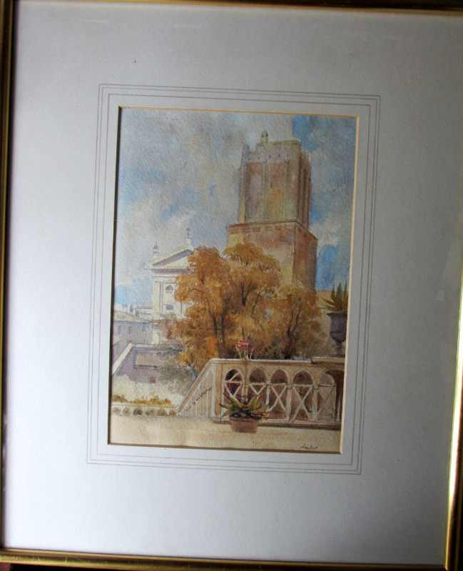 Nero's Tower, watercolour and graphite, signed Leitch, c1854.
