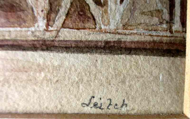 Nero's Tower, watercolour and graphite, signed Leitch, c1854. Detail. Signature.