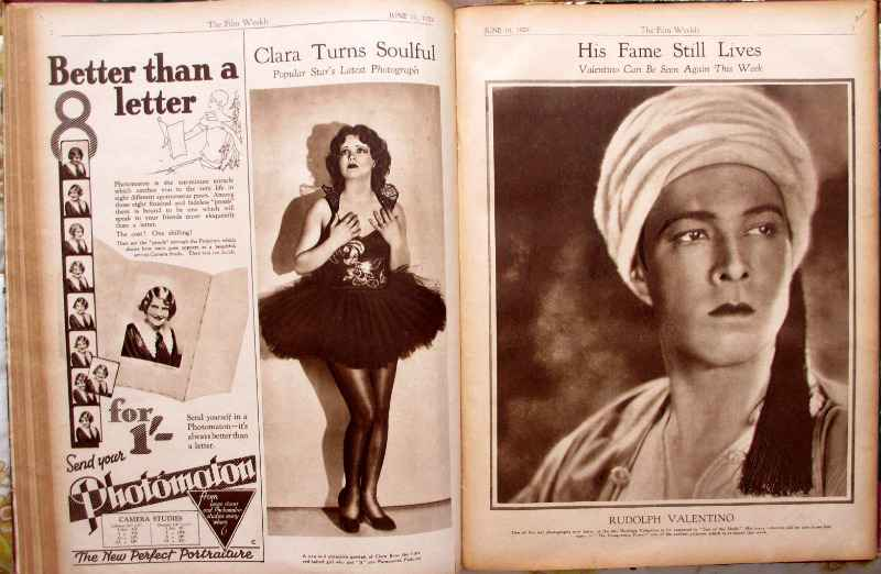 Film Weekly 1929, sample page and advertising.