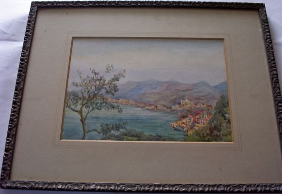 Portofino Velta signed Eleanor F. Andrew, watercolour on paper, c1925.