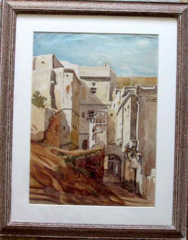 Rue de la Gazelle, Alger, watercolour on paper, signed Jar.18. 1918.