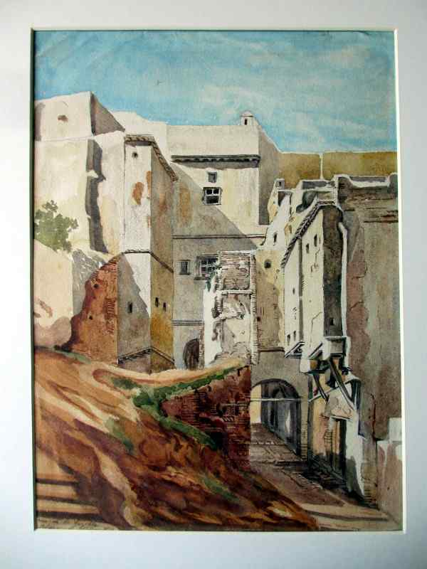 Rue de la Gazelle, Alger, watercolour on paper, signed Jar.18. 1918. Detail.