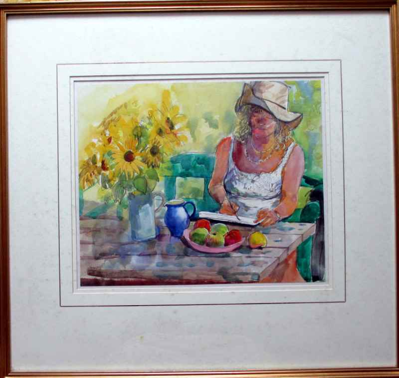 Valerie painting sunflowers, watercolour, pastel and pencil on paper signed Stubley, c1990.