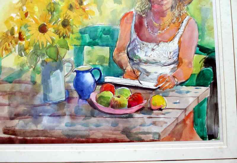 Valerie painting sunflowers, watercolour, pastel and pencil on paper signed Stubley, c1990. Detail.