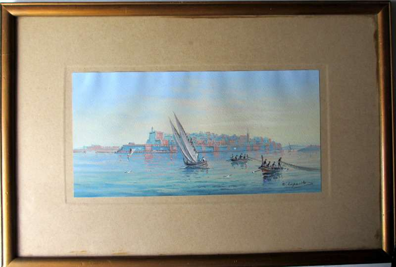 A triptych of Maltese Harbour Views, gouache on paper, signed D'Esposito.