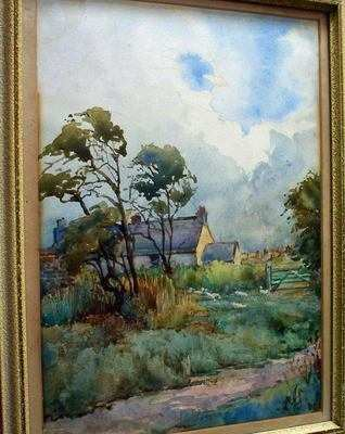 Farm North Scales watercolour signed JG.