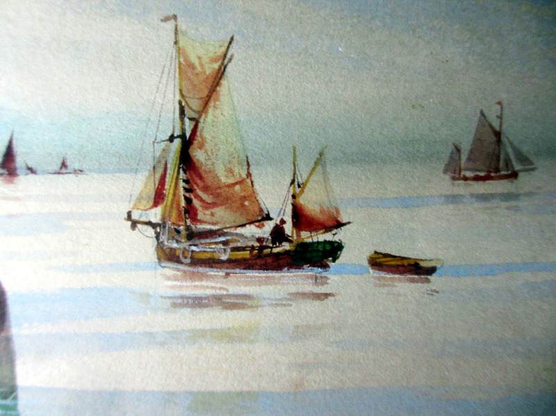 Fishing Boats off the English Coast, watercolour on paper, signed Avondale. c1910. Detail.