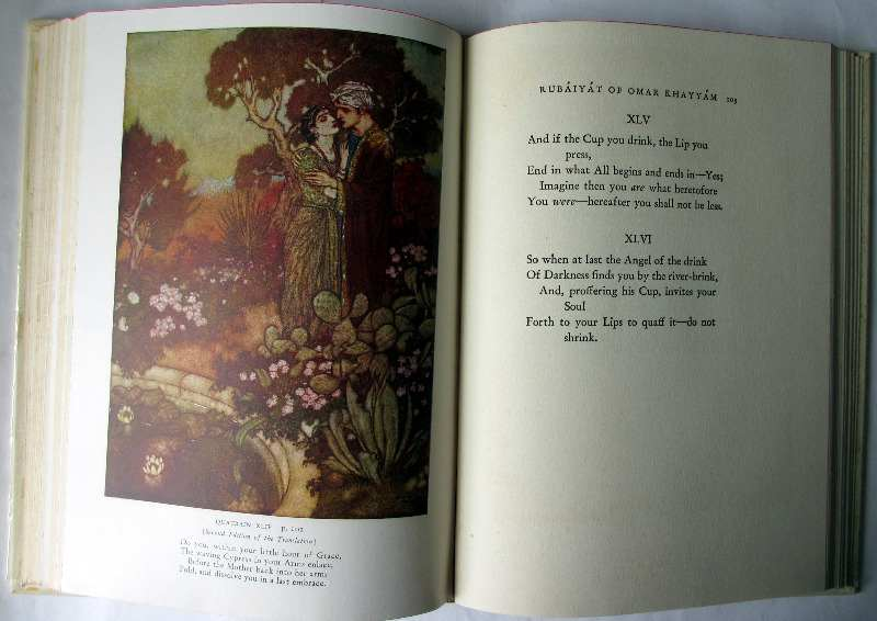 Rubaiyat of Omar Khayyam rendered into English verse by Edward Fitzgerald with illustrations by Edmund Dulac, Garden City Publishing, NY, 1937. Sample pages.