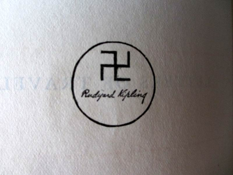 Letters of Travel (1892-1913) by Rudyard Kipling, MacMillan & Co., 1920. Swastika symbol and Rudyard Kipling.