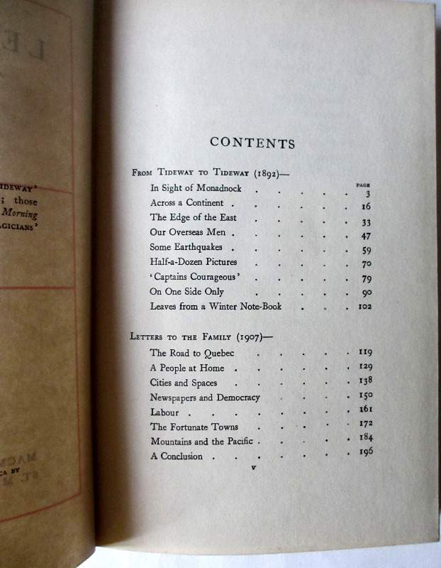 Letters of Travel (1892-1913) by Rudyard Kipling, MacMillan & Co., 1920. Contents page.