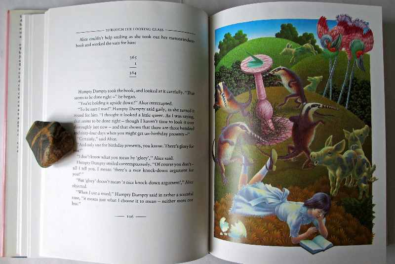 Through the Looking-Glass and what Alice found there by Lewis Carroll, illustrated by Justin Todd, 1986. Sample page and illustration.