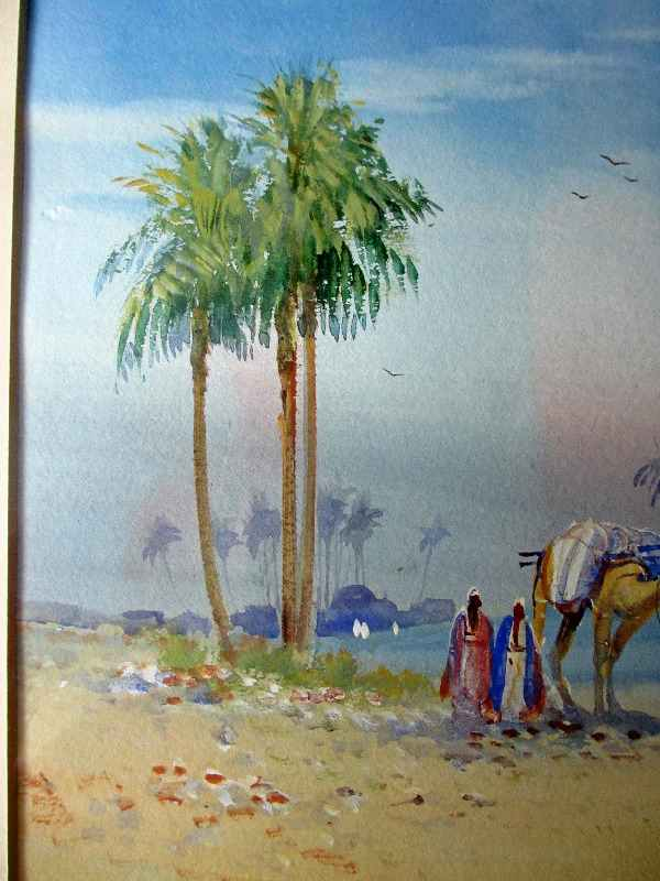Arabian Landscape with Figures, watercolour and gouache on paper, signed F. Varley, c1905. Detail.