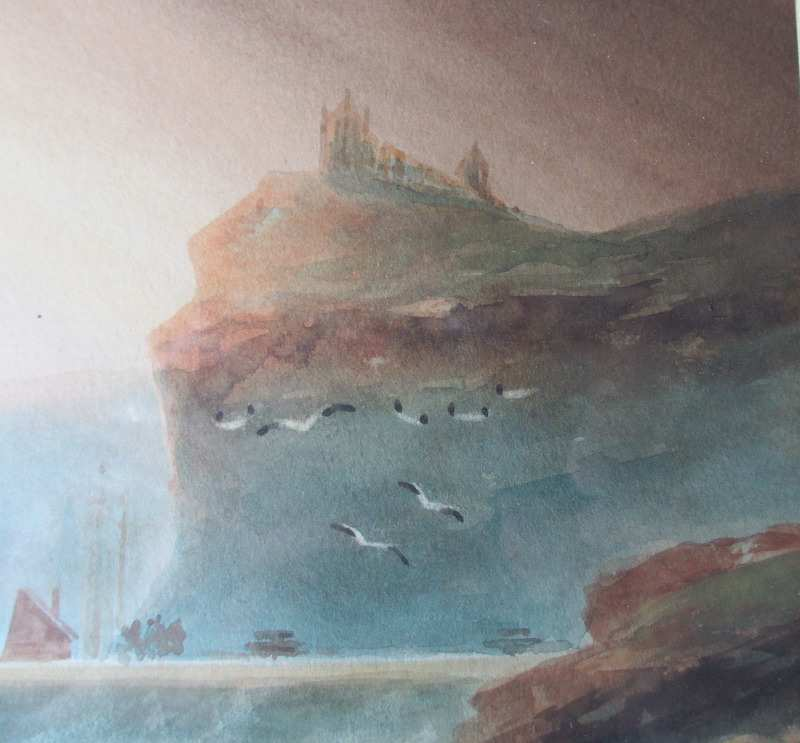 Fishermen returning to Whitby, watercolour on paper, signed A. Smith, c1920. Detail.