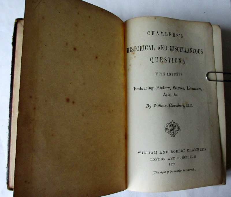 Chambers's Historical and Miscellaneous Questions by William Chambers, 1877.