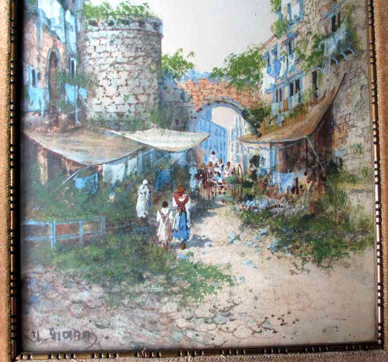 Old Street Scene in Naples, Signed Y. Gianni, 19th/20th C Neapolitan School, c1900. Detail.