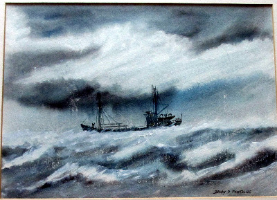 Coaster, in heavy seas off Cumbria, watercolour and gouache on paper, signe