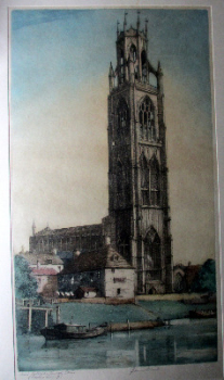 Saint Botolph's Church Boston, (Boston Stump), coloured etching, signed J. Lewis Stant. c1935.   SOLD  30.04.2014.