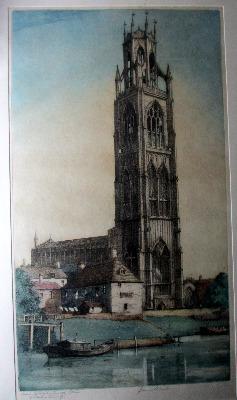 Saint Botolph's Church Boston, (Boston Stump), coloured etching, signed J.