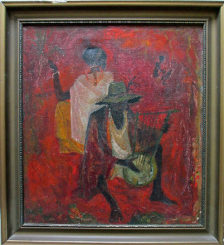 African Rhythm, oil on canvas, signed Kitty Burns, (19)51.  SOLD  11.03.2014.