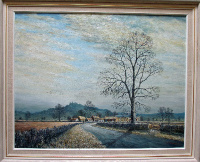 Belvoir Castle from the Vale of Belvoir, oil on board, signed Sam Burden. Framed. c1985.