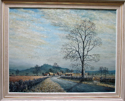 Belvoir Castle from the Vale of Belvoir, oil on board, signed Sam Burden. F