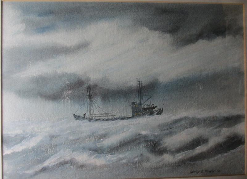 Coaster in Heavy Seas off Cumbria, watercolour and gouache, signed Brian D. Powell 85. 1985. Detail.