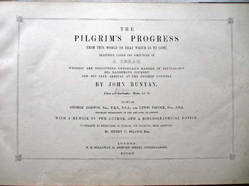 Pilgrim's Progress by John Bunyan, 1844. Title page.