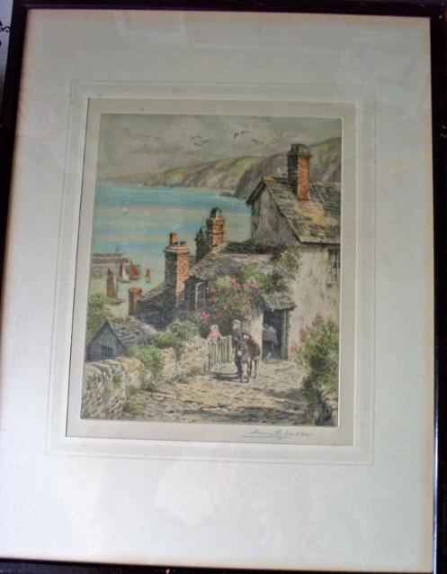 A Coastal Scene (Clovelly Rose Cottage) coloured etching by Henry G. Walker